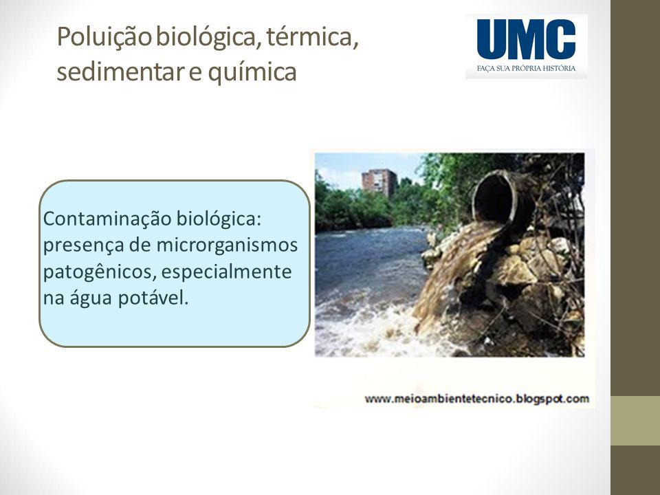 Poluição biológica, térmica, sedimentar e química