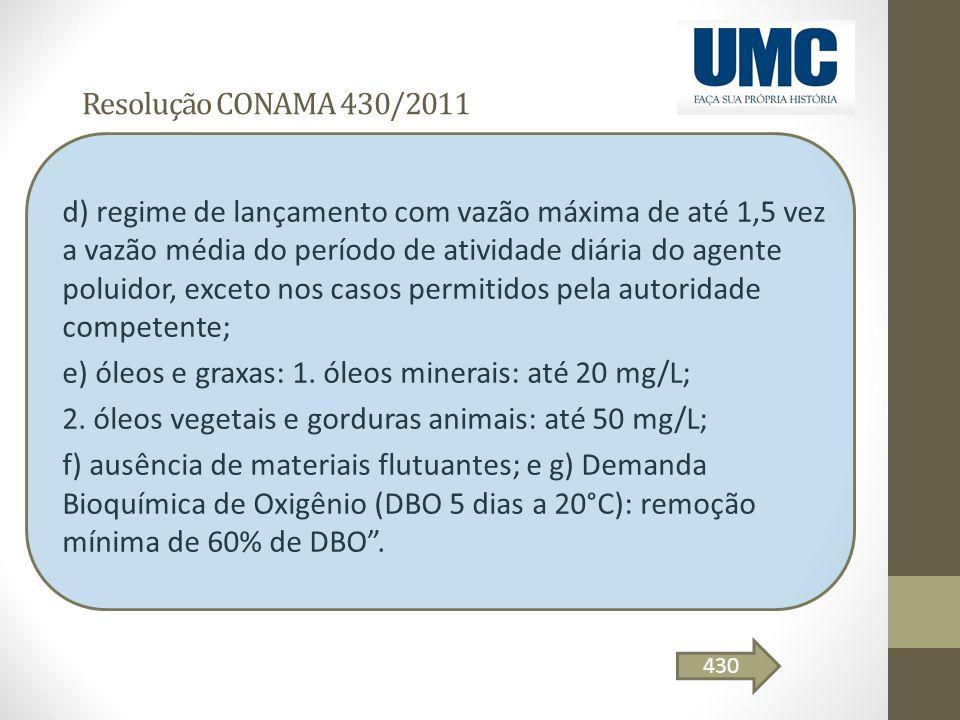e) óleos e graxas: 1. óleos minerais: até 20 mg/L;