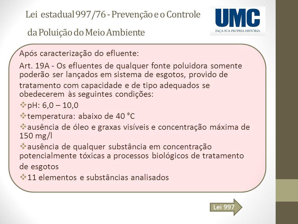 Lei estadual 997/76 - Prevenção e o Controle da Poluição do Meio Ambiente