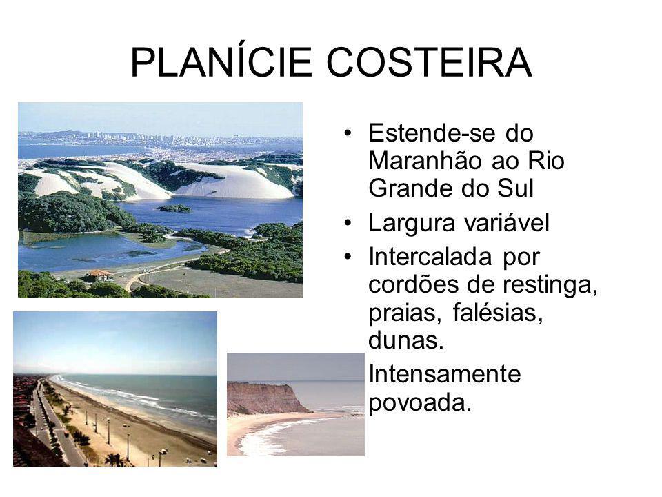 PLANÍCIE COSTEIRA Estende-se do Maranhão ao Rio Grande do Sul