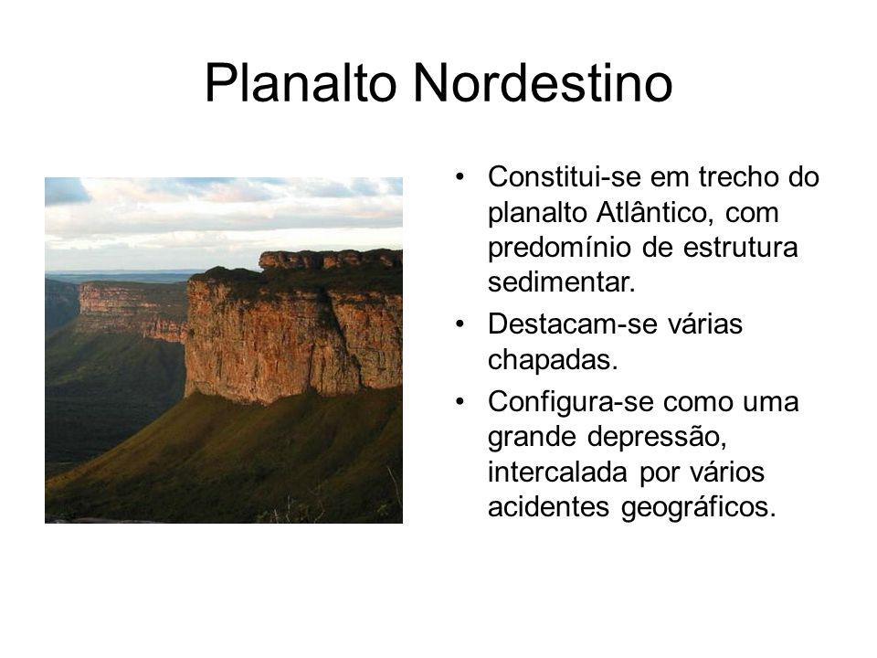 Planalto Nordestino Constitui-se em trecho do planalto Atlântico, com predomínio de estrutura sedimentar.