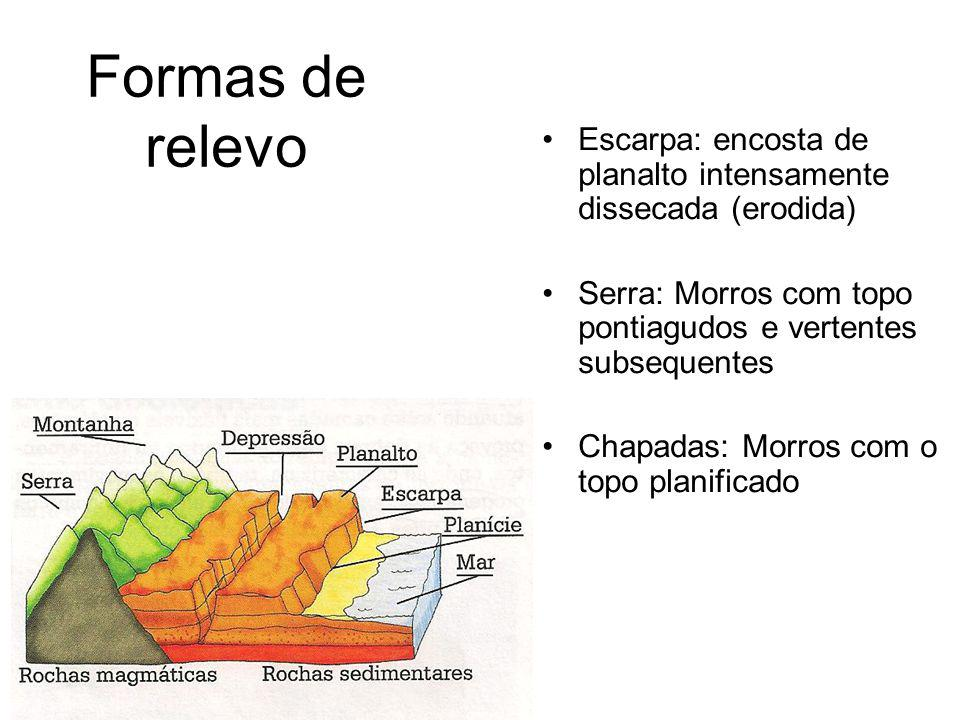 Formas de relevo Escarpa: encosta de planalto intensamente dissecada (erodida) Serra: Morros com topo pontiagudos e vertentes subsequentes.