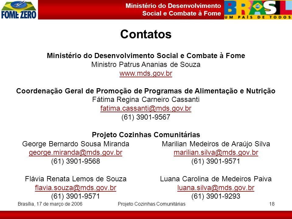 Contatos Ministério do Desenvolvimento Social e Combate à Fome
