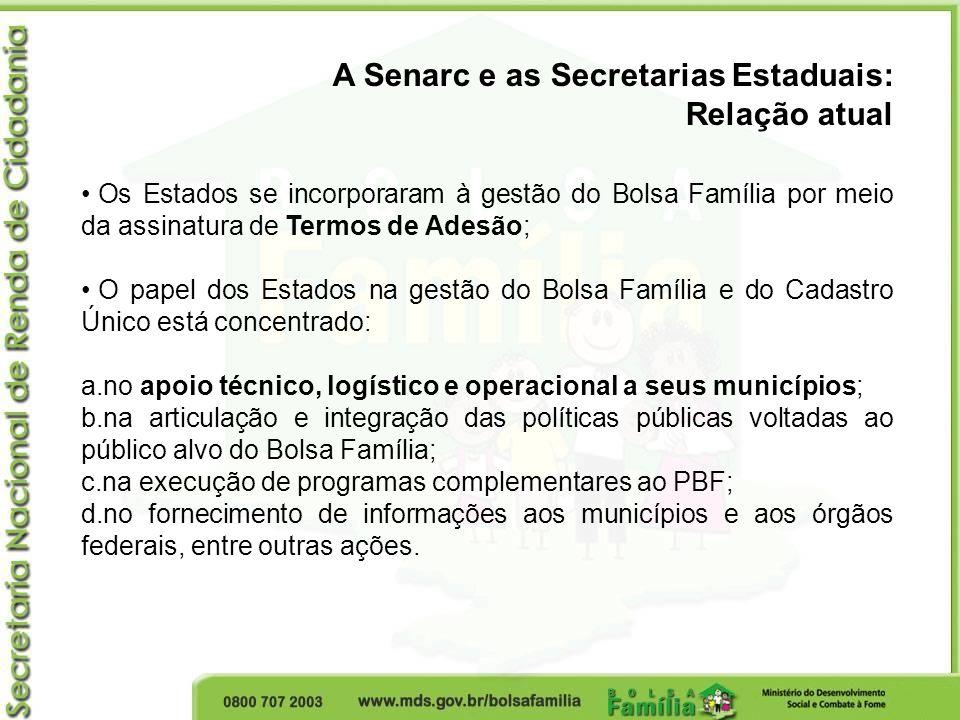 A Senarc e as Secretarias Estaduais: Relação atual