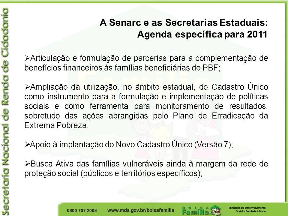 A Senarc e as Secretarias Estaduais: Agenda específica para 2011