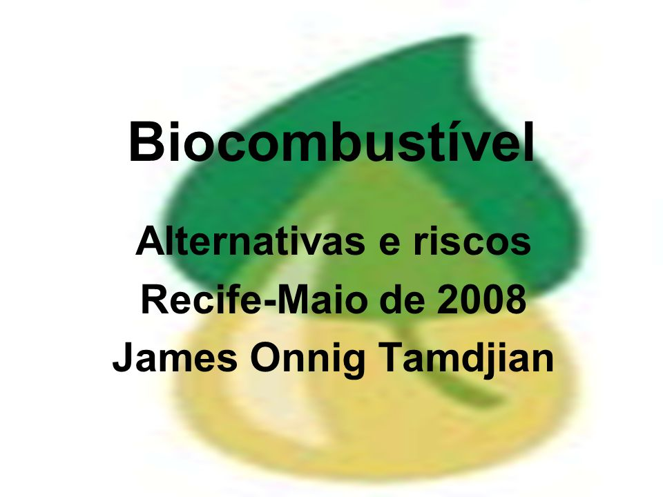 Alternativas e riscos Recife-Maio de 2008 James Onnig Tamdjian