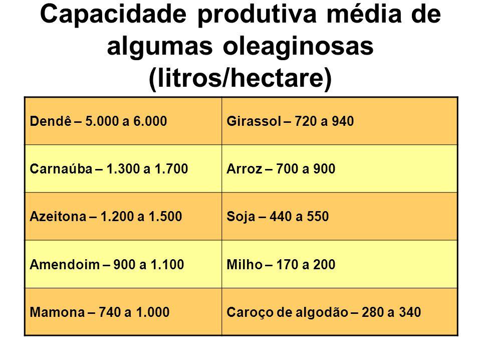 Capacidade produtiva média de algumas oleaginosas (litros/hectare)