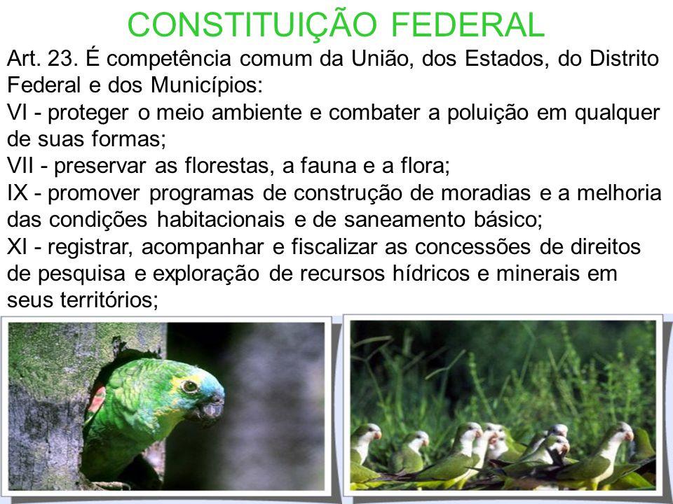 CONSTITUIÇÃO FEDERAL Art. 23. É competência comum da União, dos Estados, do Distrito Federal e dos Municípios:
