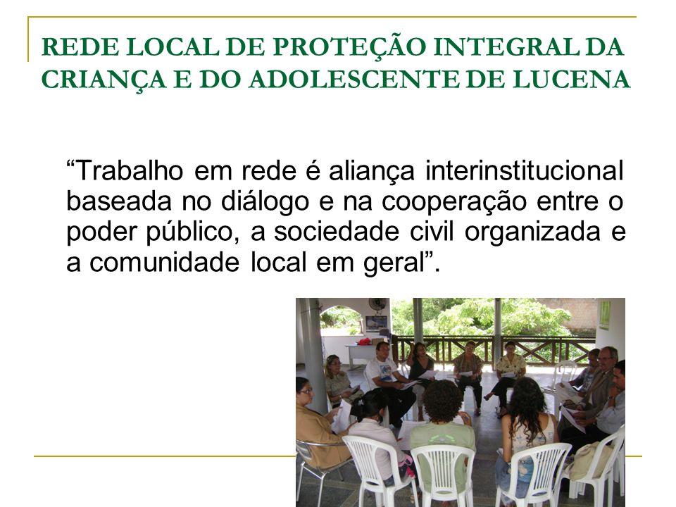 REDE LOCAL DE PROTEÇÃO INTEGRAL DA CRIANÇA E DO ADOLESCENTE DE LUCENA