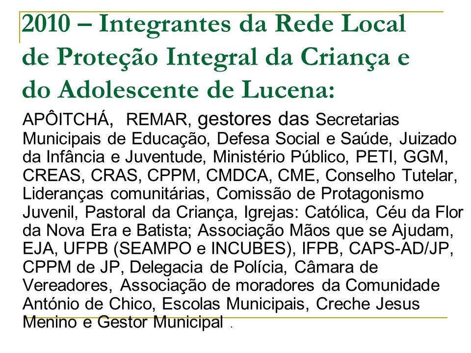 2010 – Integrantes da Rede Local de Proteção Integral da Criança e do Adolescente de Lucena: