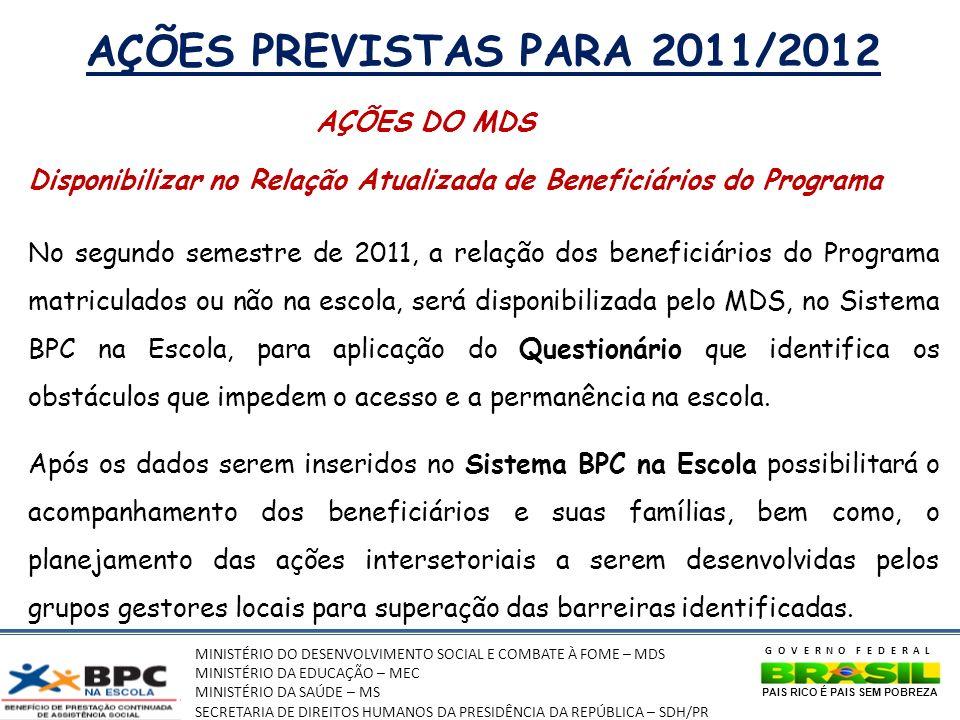 AÇÕES PREVISTAS PARA 2011/2012 AÇÕES DO MDS