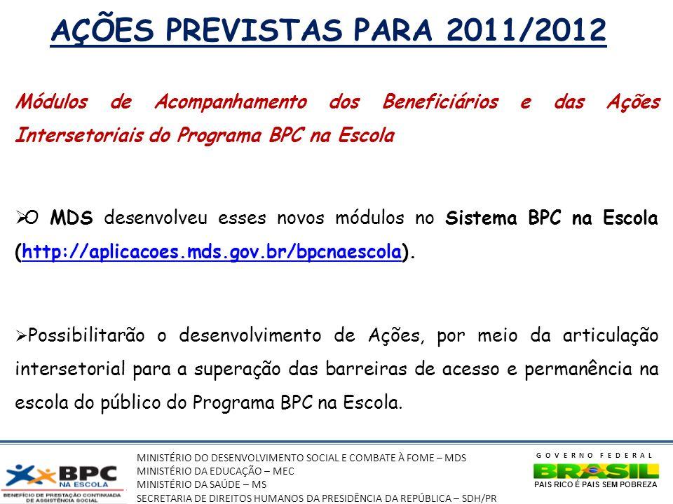 AÇÕES PREVISTAS PARA 2011/2012 Módulos de Acompanhamento dos Beneficiários e das Ações Intersetoriais do Programa BPC na Escola.