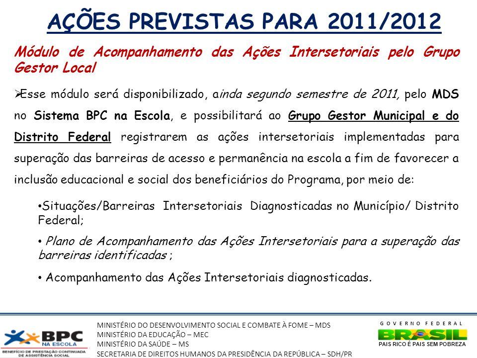 AÇÕES PREVISTAS PARA 2011/2012 Módulo de Acompanhamento das Ações Intersetoriais pelo Grupo Gestor Local.