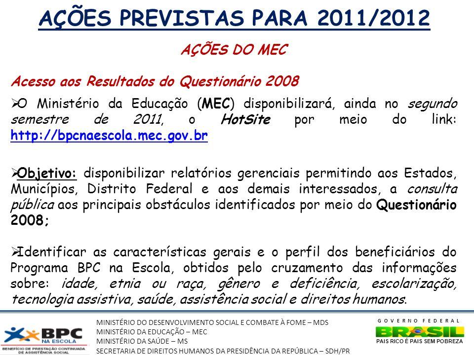 AÇÕES PREVISTAS PARA 2011/2012 AÇÕES DO MEC