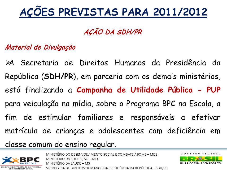 AÇÕES PREVISTAS PARA 2011/2012 AÇÃO DA SDH/PR. Material de Divulgação.