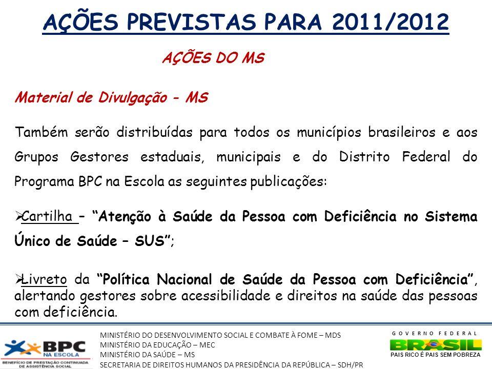 AÇÕES PREVISTAS PARA 2011/2012 AÇÕES DO MS Material de Divulgação - MS