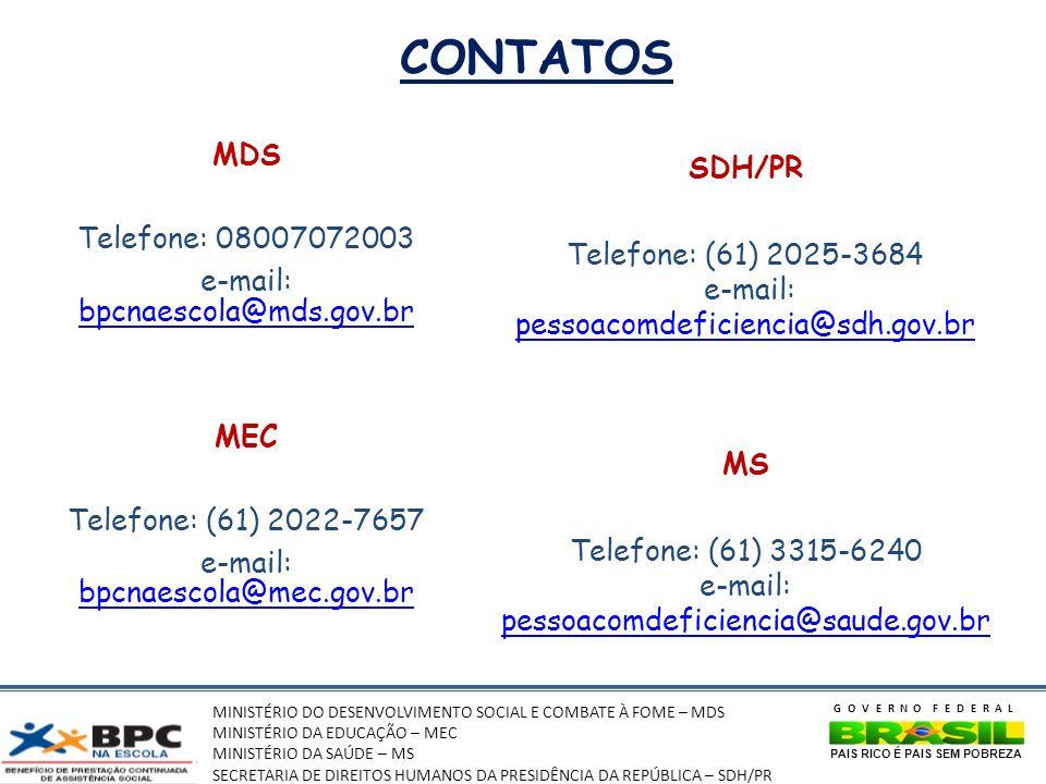 CONTATOS MDS SDH/PR Telefone: 08007072003 Telefone: (61) 2025-3684