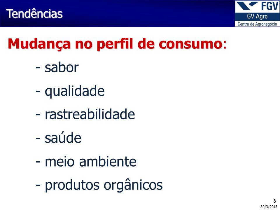 Mudança no perfil de consumo: - sabor