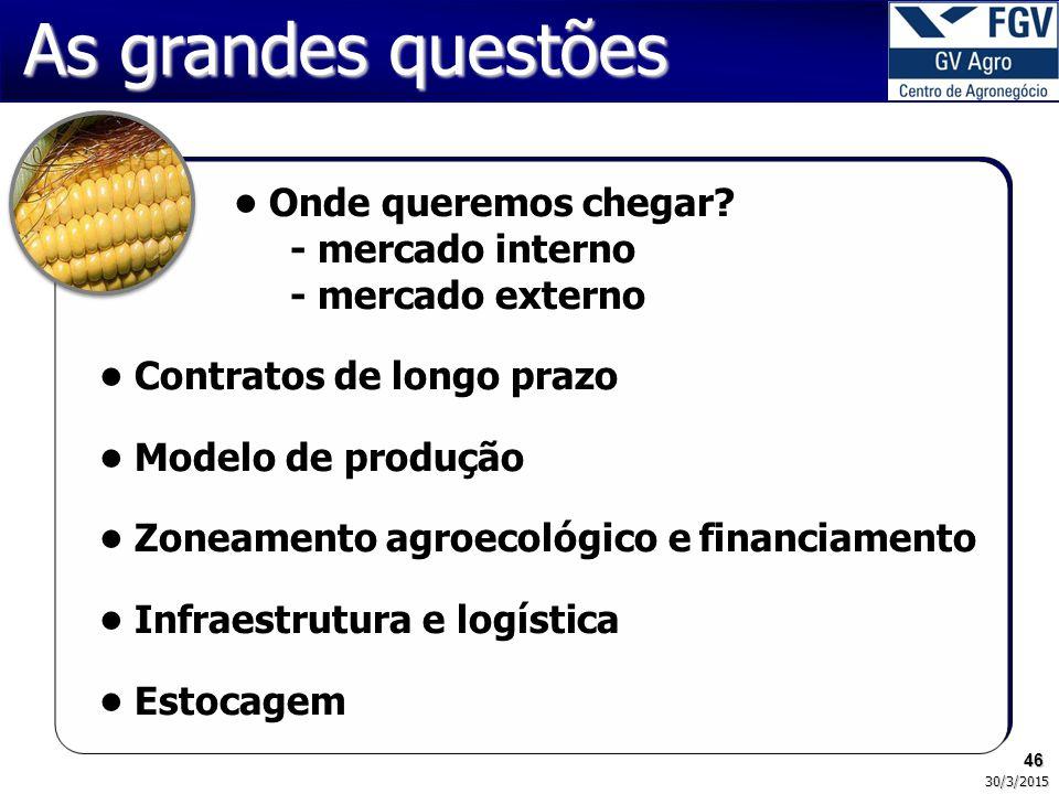 As grandes questões • Onde queremos chegar - mercado interno - mercado externo. • Contratos de longo prazo.