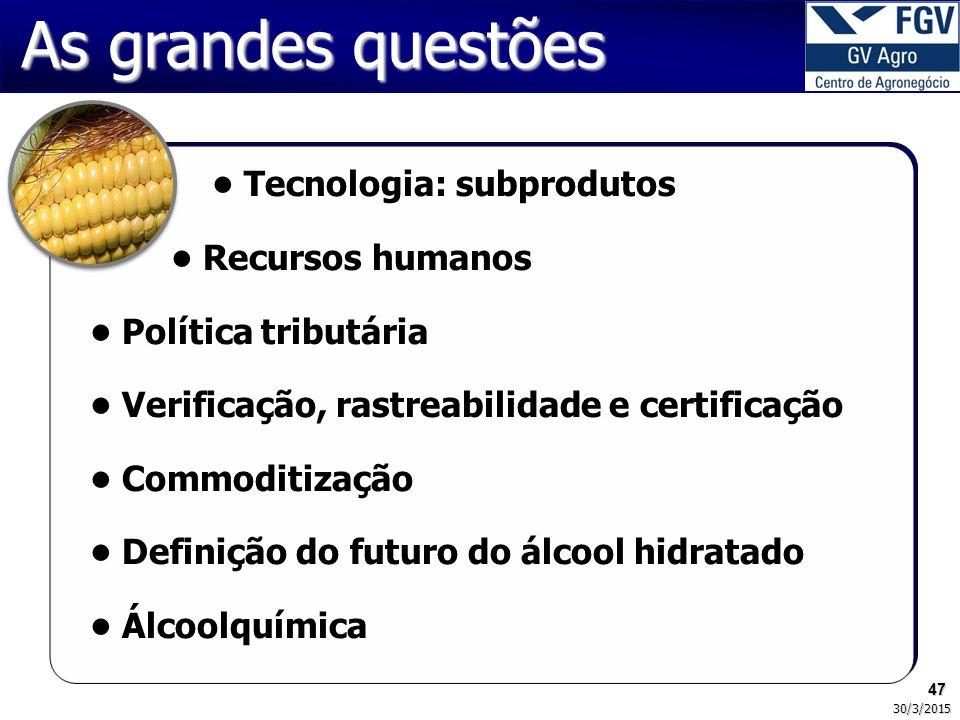 As grandes questões • Tecnologia: subprodutos • Recursos humanos