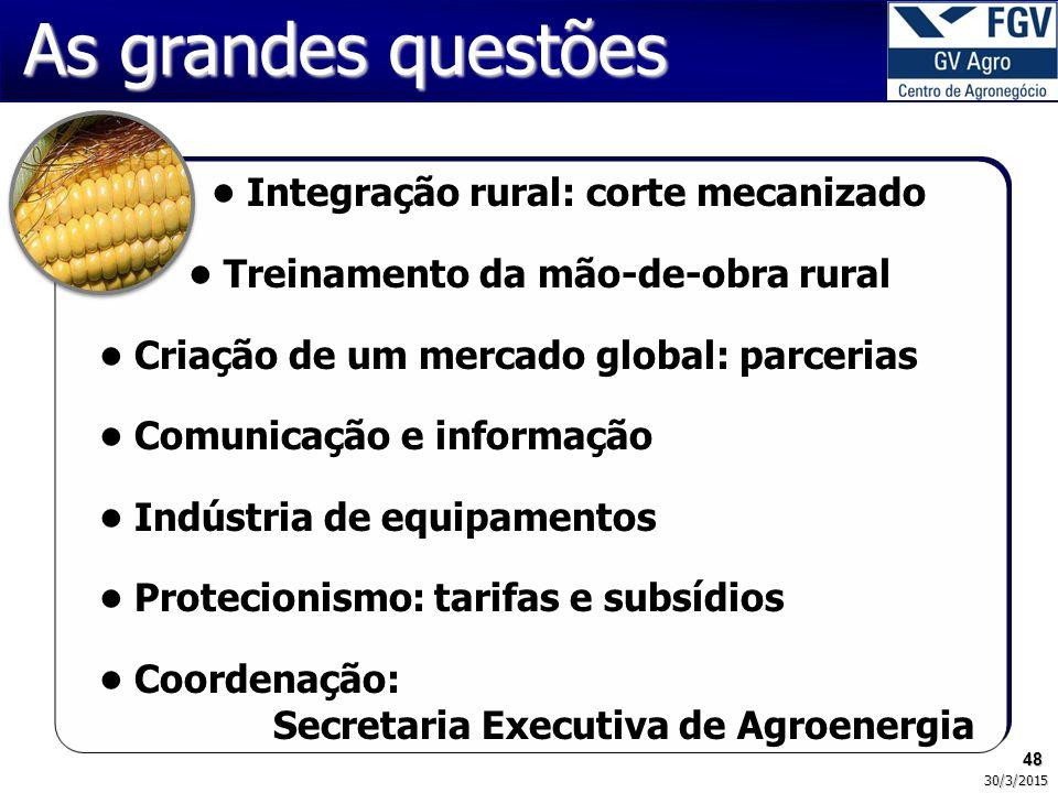 As grandes questões • Integração rural: corte mecanizado