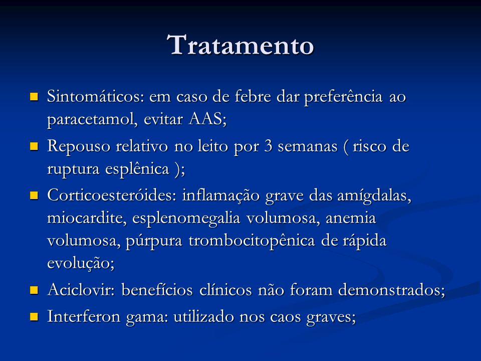 Tratamento Sintomáticos: em caso de febre dar preferência ao paracetamol, evitar AAS;