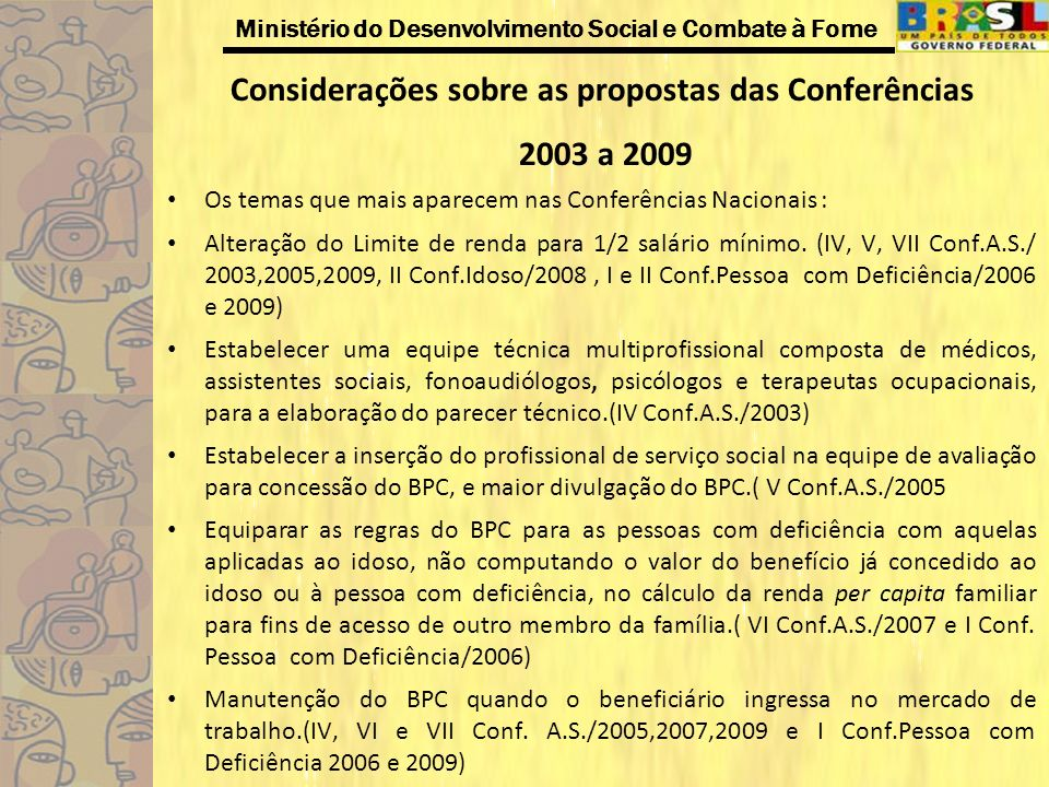 Considerações sobre as propostas das Conferências 2003 a 2009