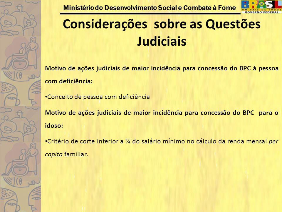 Considerações sobre as Questões Judiciais