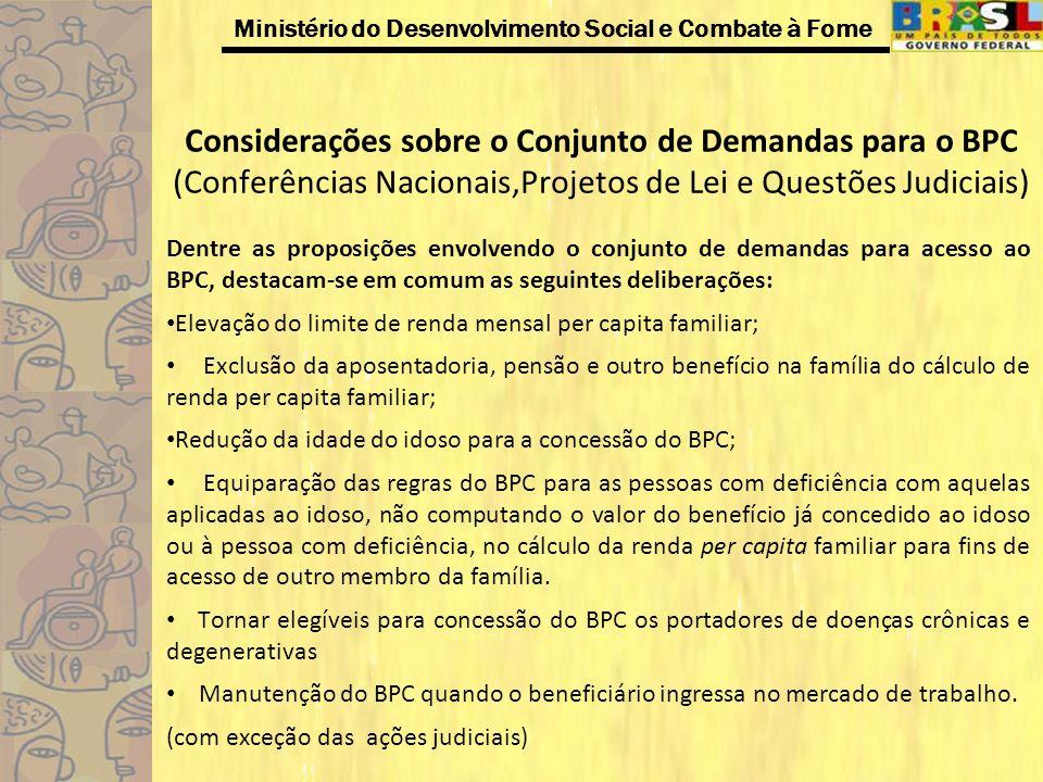 Considerações sobre o Conjunto de Demandas para o BPC (Conferências Nacionais,Projetos de Lei e Questões Judiciais)