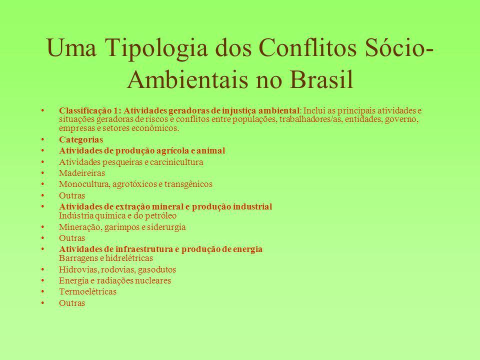 Uma Tipologia dos Conflitos Sócio-Ambientais no Brasil
