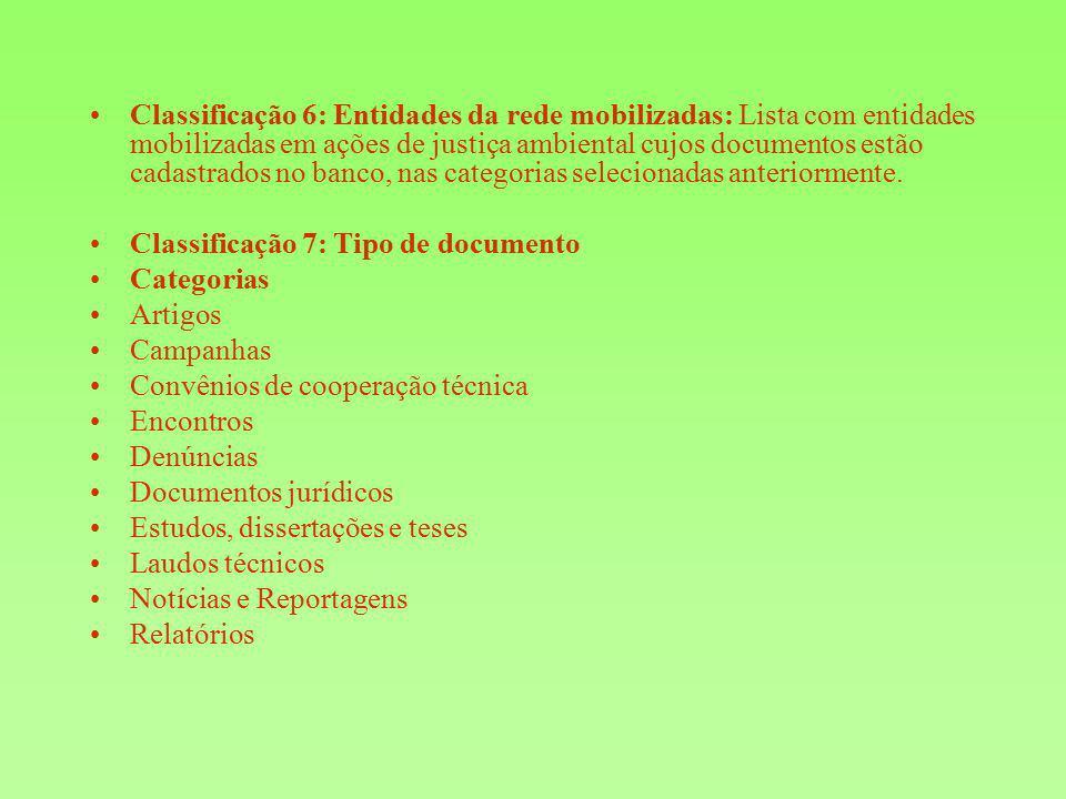 Classificação 6: Entidades da rede mobilizadas: Lista com entidades mobilizadas em ações de justiça ambiental cujos documentos estão cadastrados no banco, nas categorias selecionadas anteriormente.