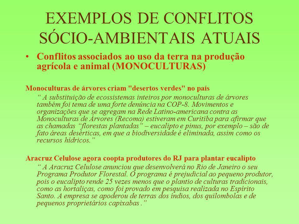 EXEMPLOS DE CONFLITOS SÓCIO-AMBIENTAIS ATUAIS