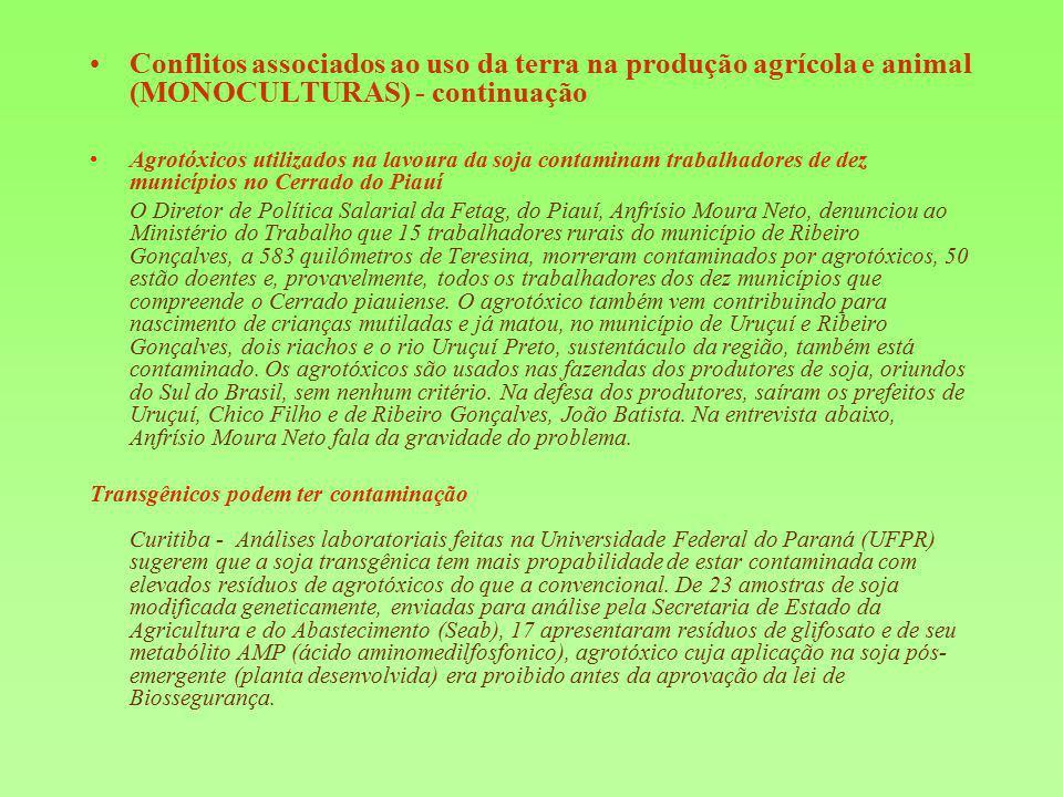 Conflitos associados ao uso da terra na produção agrícola e animal (MONOCULTURAS) - continuação