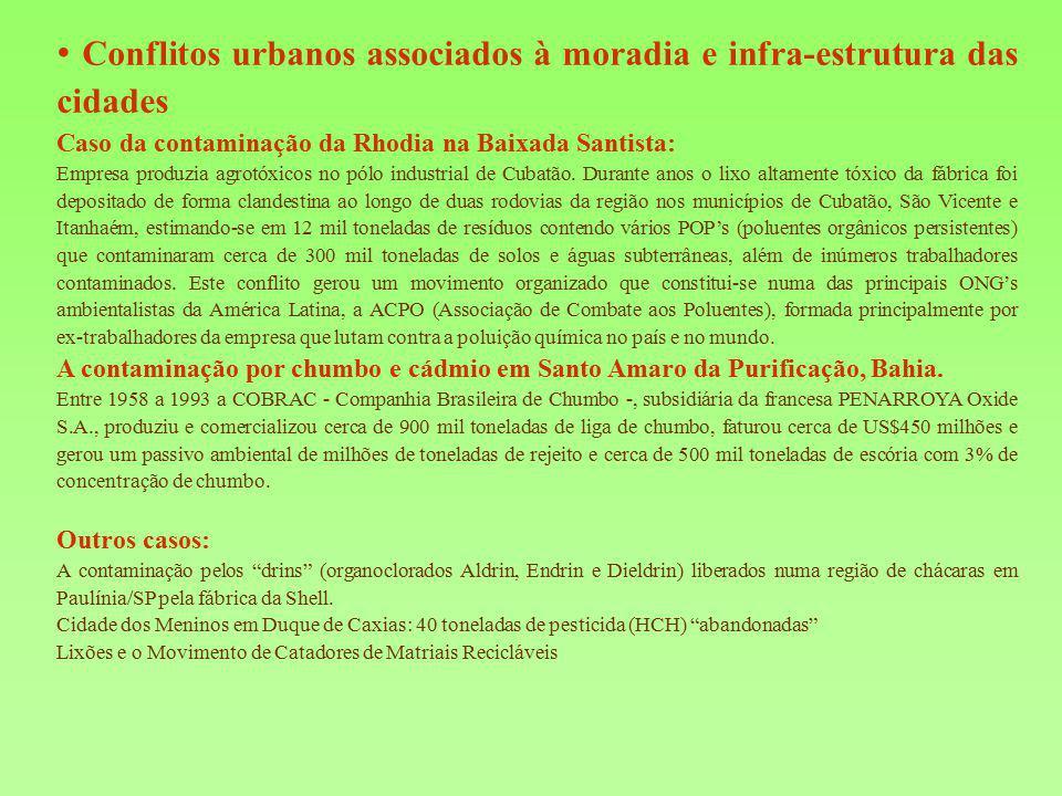 • Conflitos urbanos associados à moradia e infra-estrutura das cidades