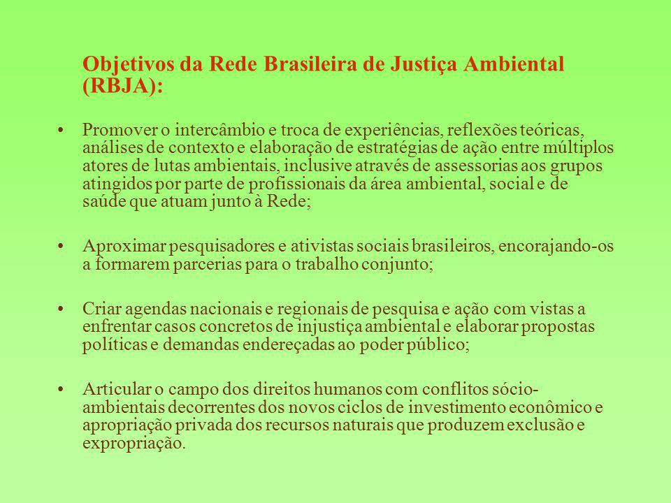 Objetivos da Rede Brasileira de Justiça Ambiental (RBJA):