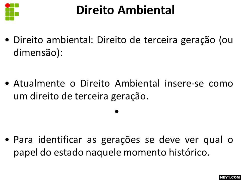 Direito Ambiental Direito ambiental: Direito de terceira geração (ou dimensão):