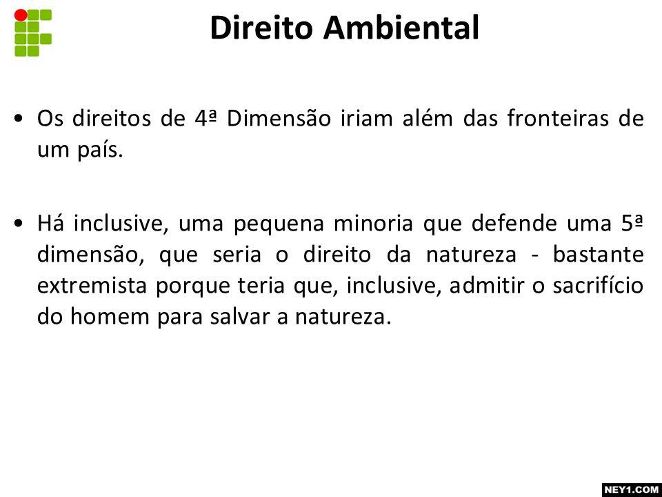 Direito Ambiental Os direitos de 4ª Dimensão iriam além das fronteiras de um país.