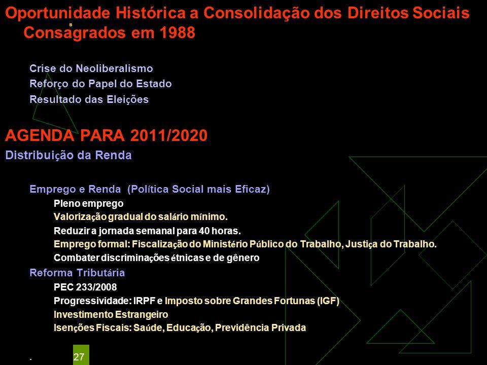 Oportunidade Histórica a Consolidação dos Direitos Sociais Consagrados em 1988