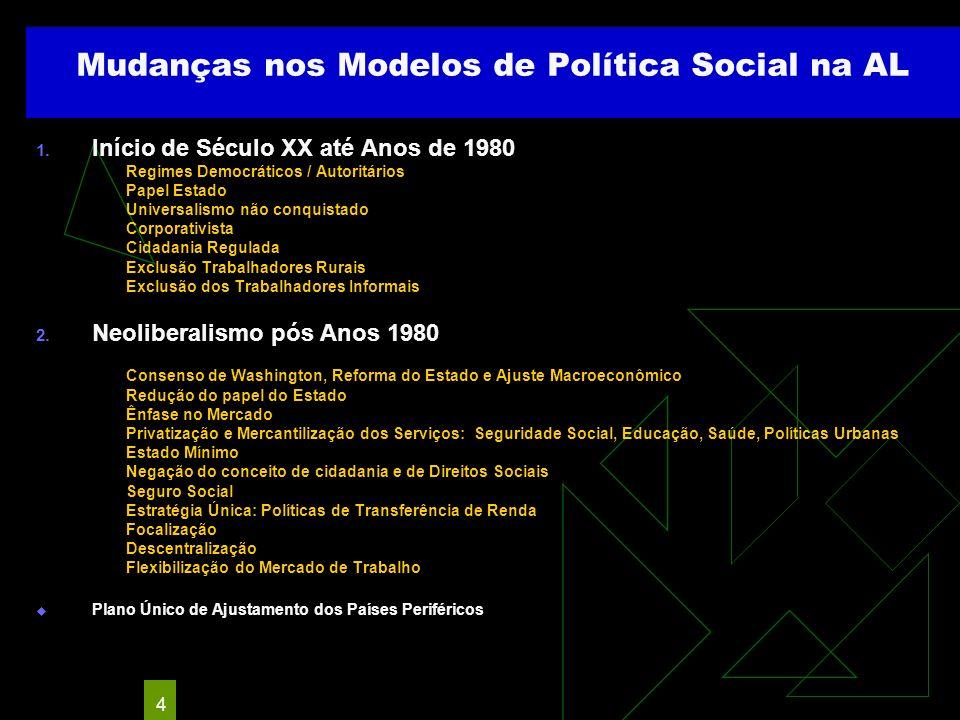 Mudanças nos Modelos de Política Social na AL
