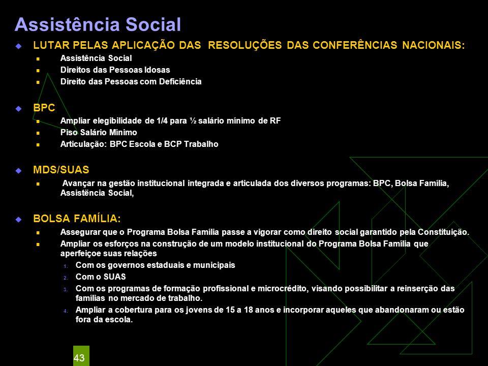 Assistência Social LUTAR PELAS APLICAÇÃO DAS RESOLUÇÕES DAS CONFERÊNCIAS NACIONAIS: Direitos das Pessoas Idosas.