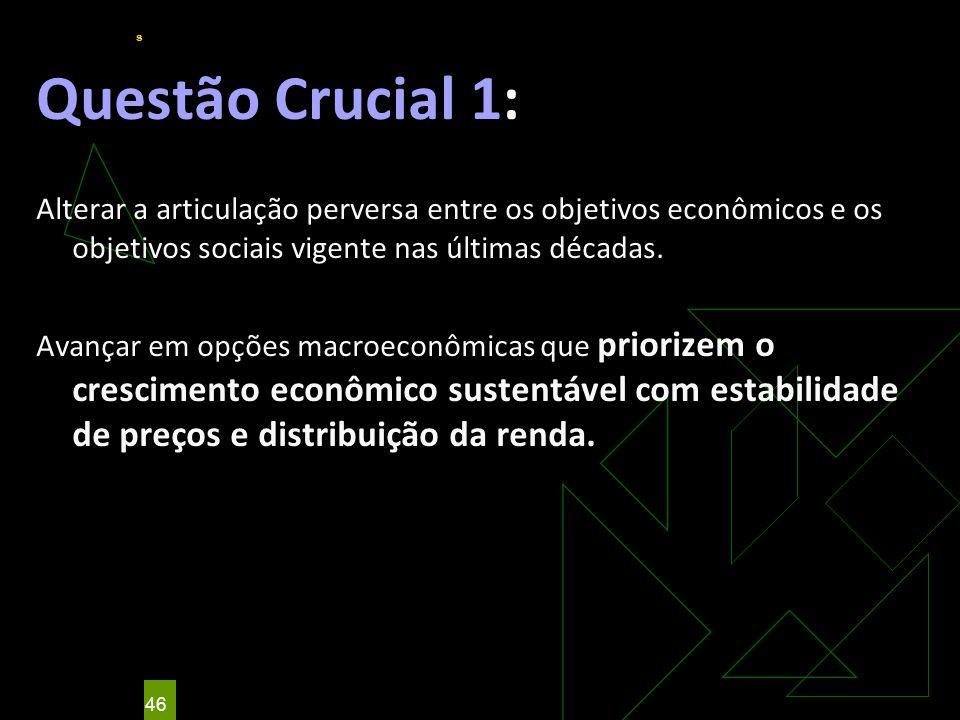 Questão Crucial 1: Alterar a articulação perversa entre os objetivos econômicos e os objetivos sociais vigente nas últimas décadas.