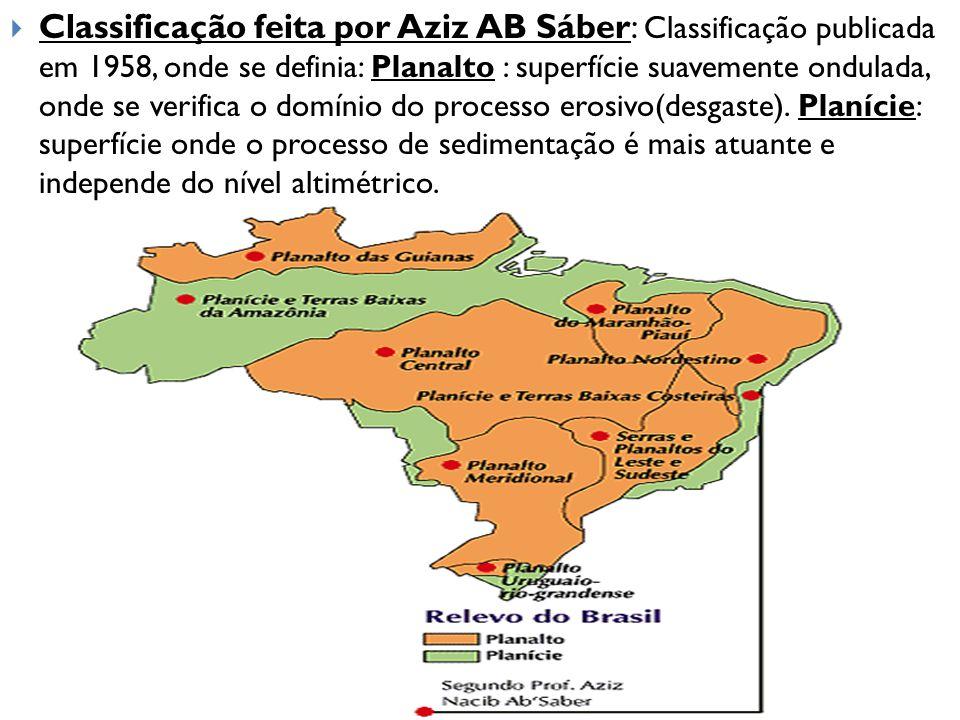 Classificação feita por Aziz AB Sáber: Classificação publicada em 1958, onde se definia: Planalto : superfície suavemente ondulada, onde se verifica o domínio do processo erosivo(desgaste).