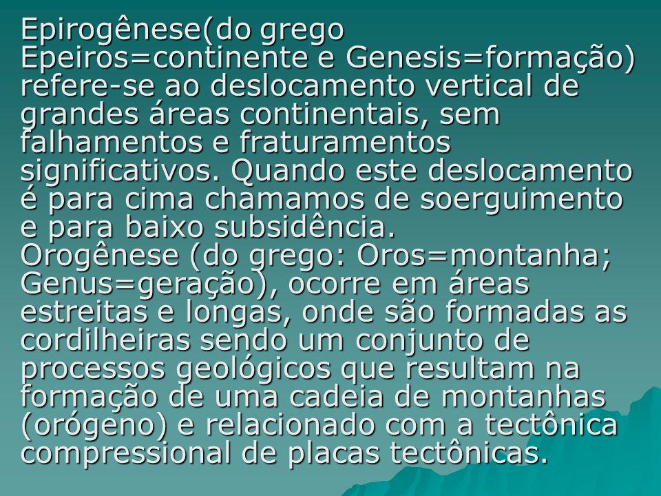 Epirogênese(do grego Epeiros=continente e Genesis=formação) refere-se ao deslocamento vertical de grandes áreas continentais, sem falhamentos e fraturamentos significativos.