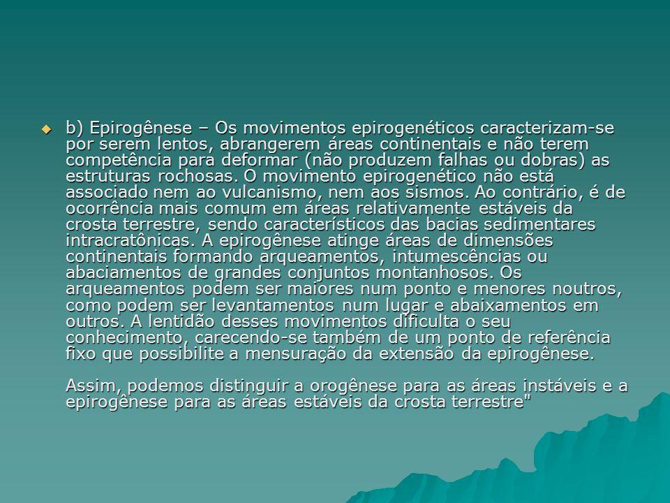 b) Epirogênese – Os movimentos epirogenéticos caracterizam-se por serem lentos, abrangerem áreas continentais e não terem competência para deformar (não produzem falhas ou dobras) as estruturas rochosas.