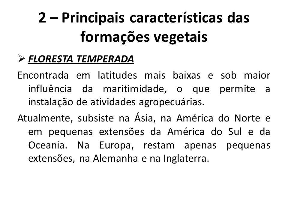 2 – Principais características das formações vegetais