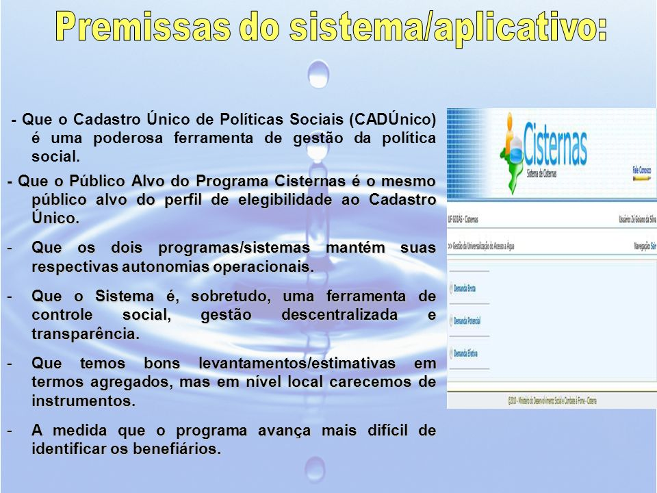 Premissas do sistema/aplicativo: