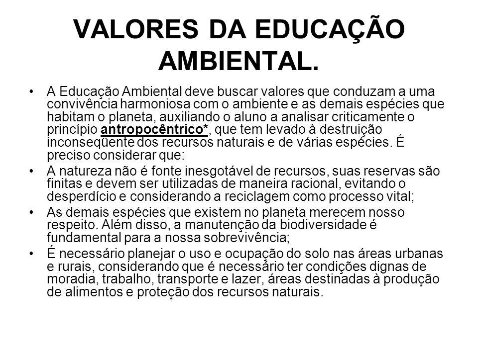 VALORES DA EDUCAÇÃO AMBIENTAL.