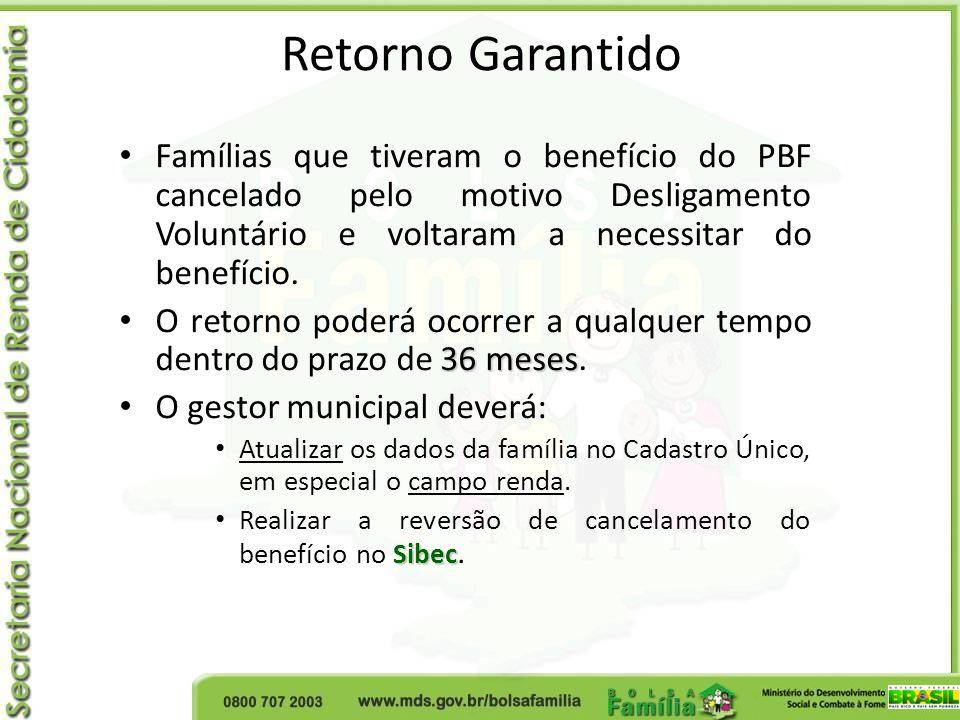 Retorno GarantidoFamílias que tiveram o benefício do PBF cancelado pelo motivo Desligamento Voluntário e voltaram a necessitar do benefício.