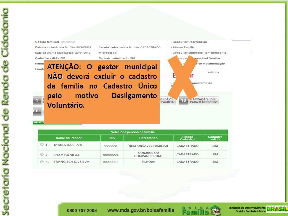 ATENÇÃO: O gestor municipal NÃO deverá excluir o cadastro da família no Cadastro Único pelo motivo Desligamento Voluntário.