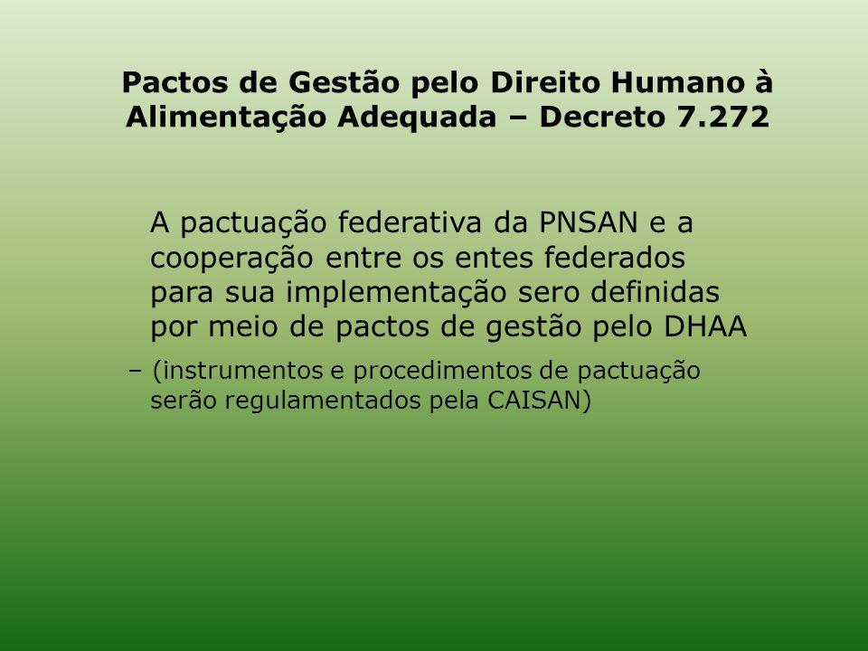Pactos de Gestão pelo Direito Humano à Alimentação Adequada – Decreto 7.272